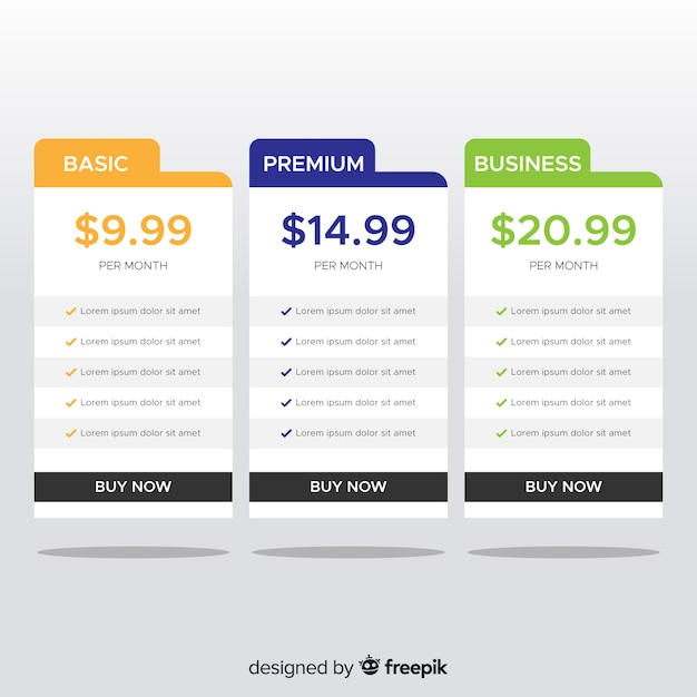 Flat price list collection Free Vector