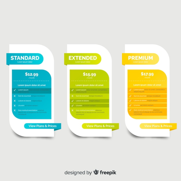 Flat price list pack Free Vector