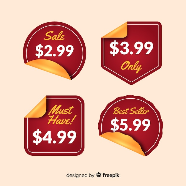 Flat price list sticker collection Free Vector