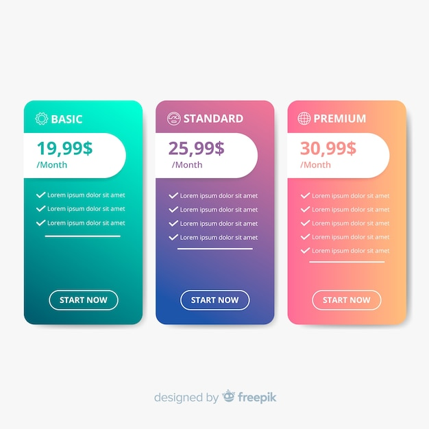 Flat price list Free Vector