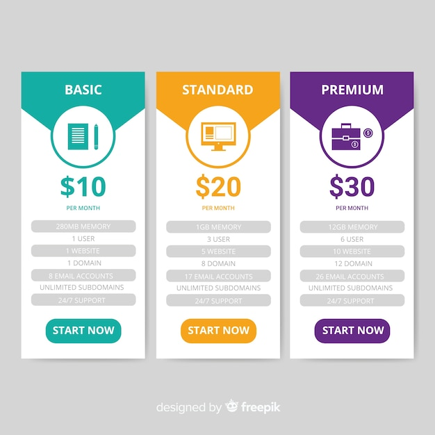 Flat price list Free Vector