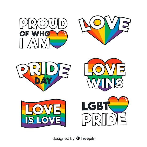 Flat pride day labels collection Free Vector