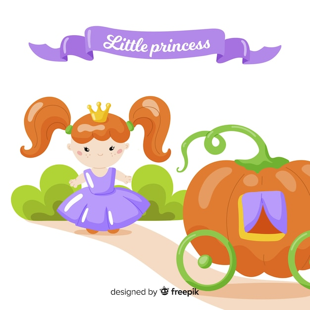 Flat princess background Free Vector