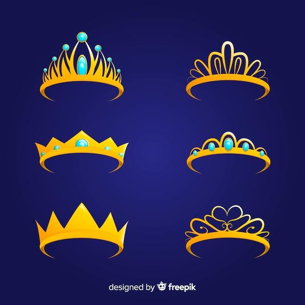 Flat princess golden tiara collection Free Vector