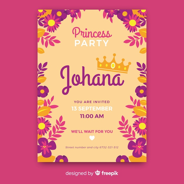 Flat Princess Party Invitation Template Vector Free Download