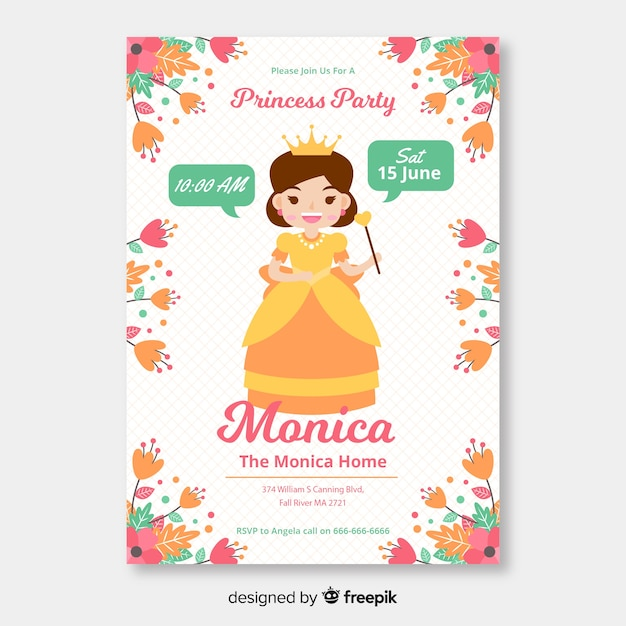 Flat princess party invitation template Free Vector