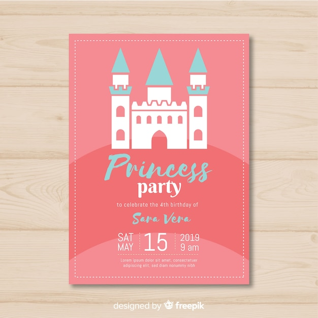 Flat princess party invitation Free Vector