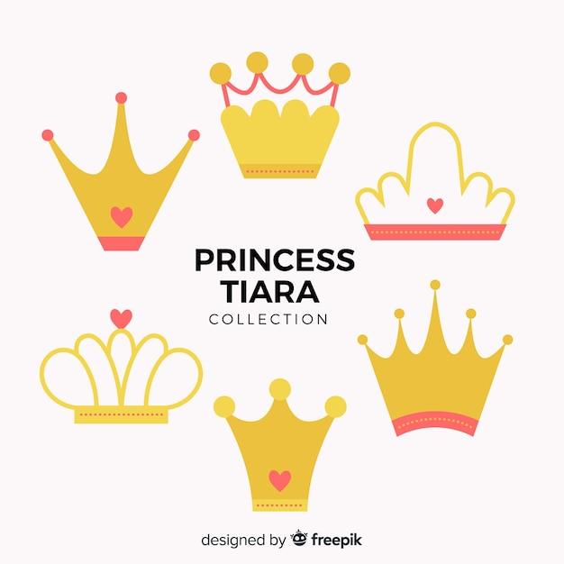Flat princess tiara collection Free Vector