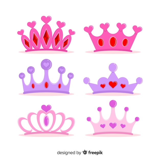 Flat princess tiara collection Free Vector