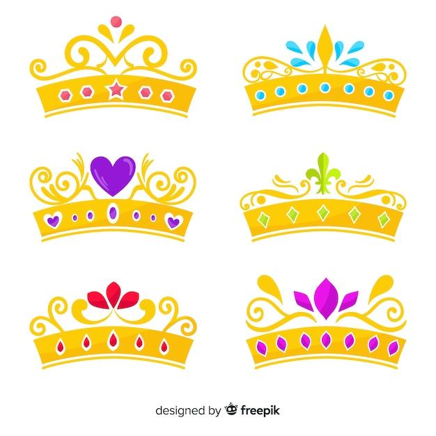 Flat princess tiara pack Free Vector