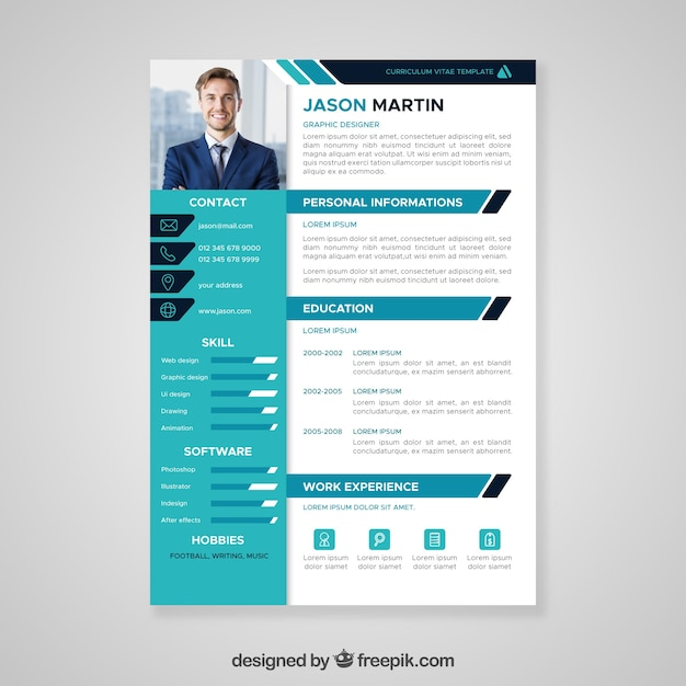 Flat Professional Curriculum Template Vector Free Download
