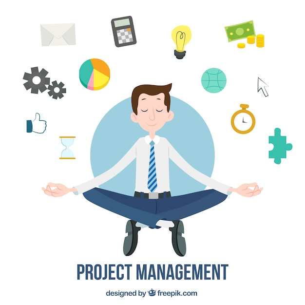 Flat project management concept with man doing yoga Free Vector