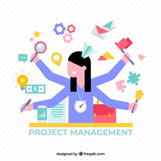 Flat project management concept with woman Free Vector