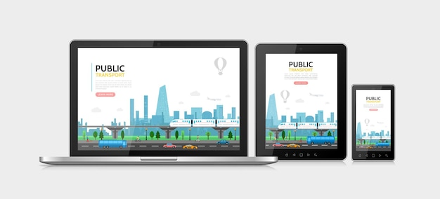 Flat public transport concept with subway cars bus airplane pedestrians urban traffic adaptive for laptop tablet phone screens Free Vector