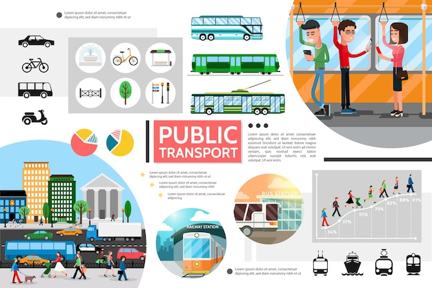 Flat public transport elements composition with bus trolleybus subway bicycle light traffic passengers city Free Vector