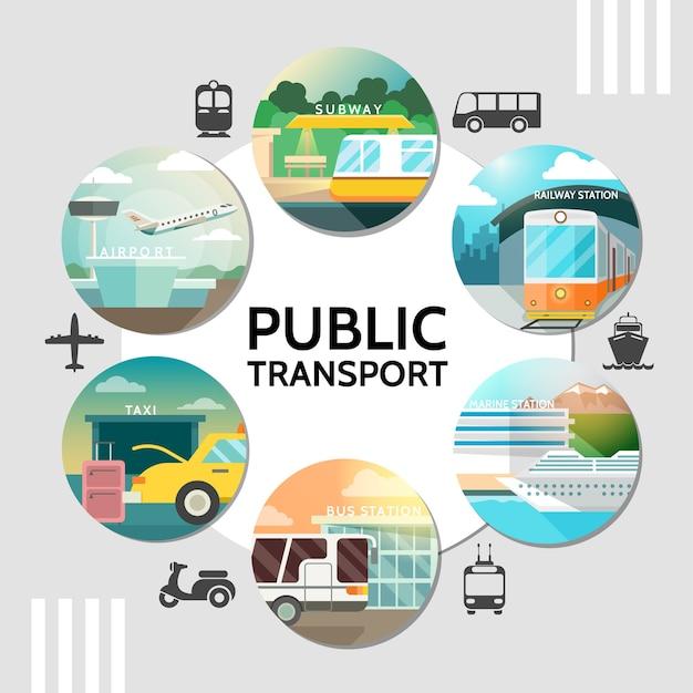 Flat public transport round concept Free Vector