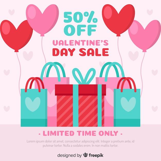 Flat purchase valentine sale background Free Vector