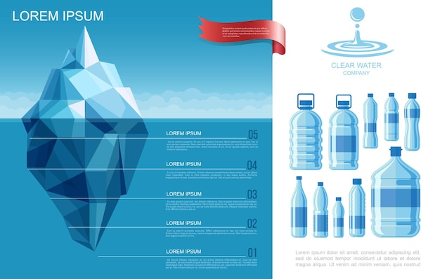 Flat pure water infographic template with iceberg in ocean and plastic bottles of clear aqua Free Vector