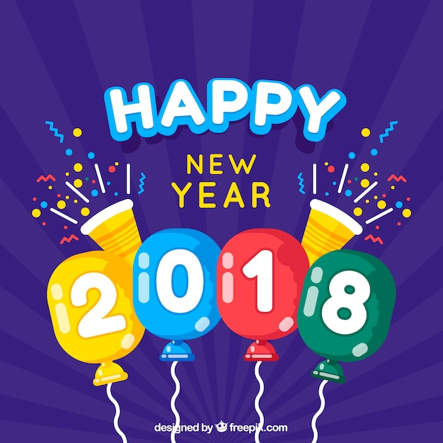 Flat purple new year background with colourful balloons