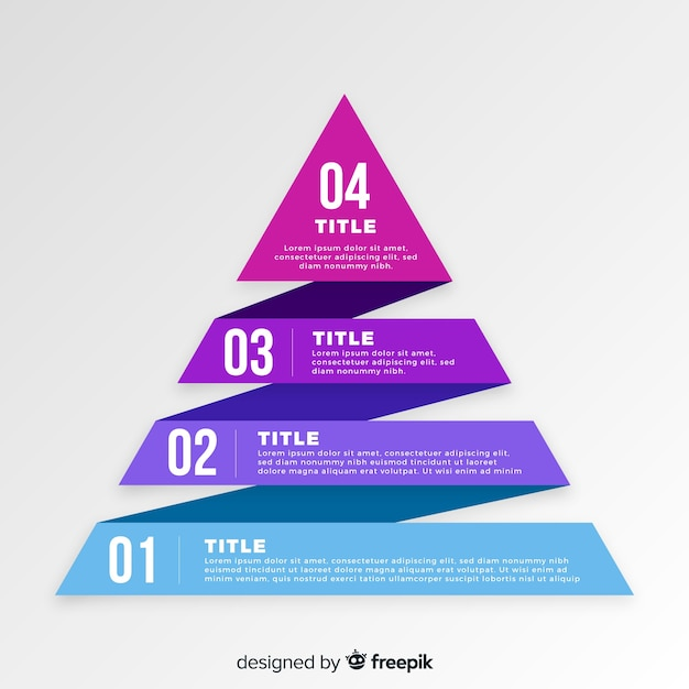 Flat pyramid infographic steps template Free Vector