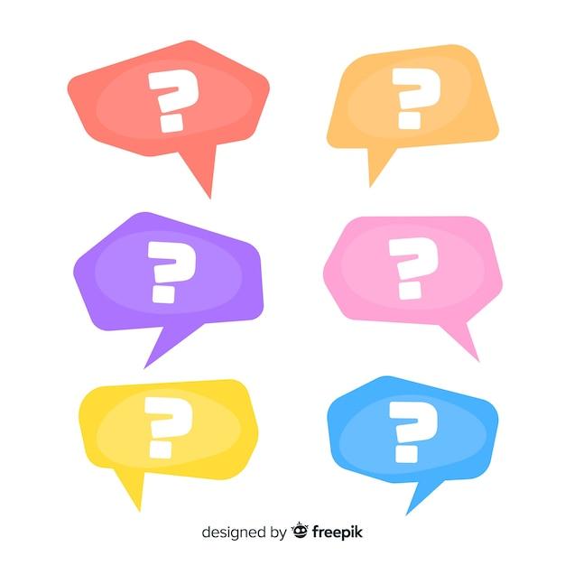 Flat question mark in speech bubble set Free Vector