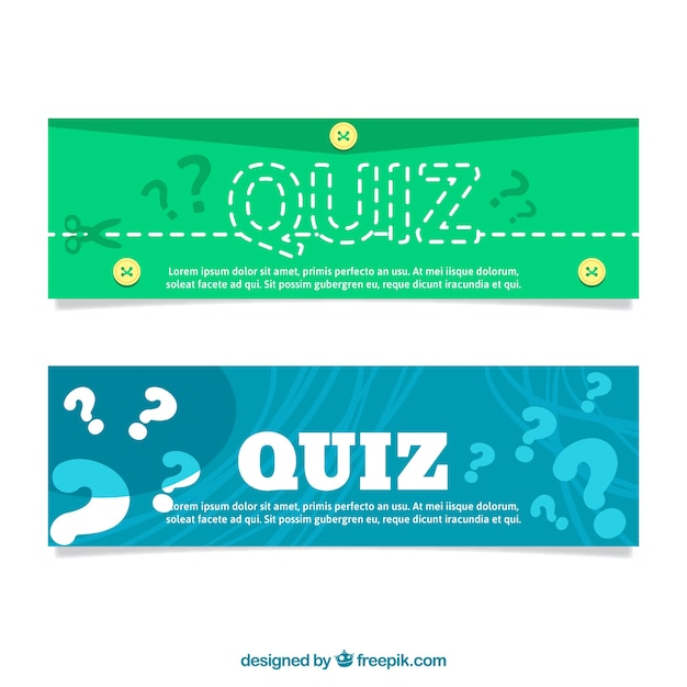 Flat quiz banners Vector | Free Download