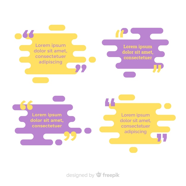 Flat quote template collection Free Vector