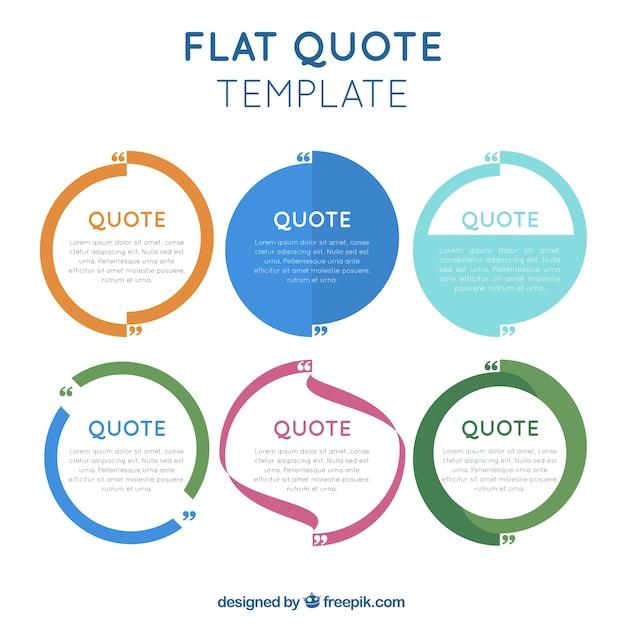 Flat Quotes Template In Modern Style Free Vector  Free Download Quotation Template