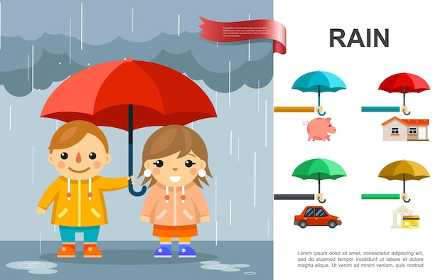 Flat rain bright  with kids with umbrella standing under the rain and property elements illustration Free Vector
