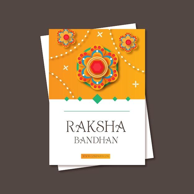 flat raksha bandhan greeting card  free vector