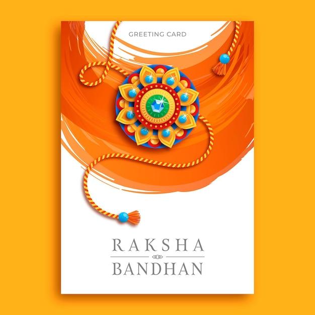 free vector  flat raksha bandhan greeting card