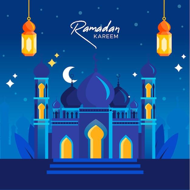 Flat ramadan background concept Premium Vector