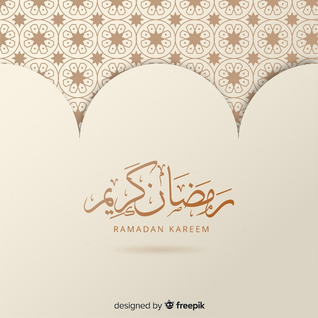 Flat ramadan background Free Vector