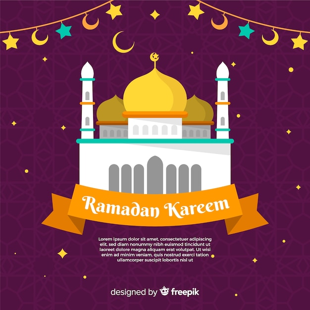 Flat ramadan background Free Vector