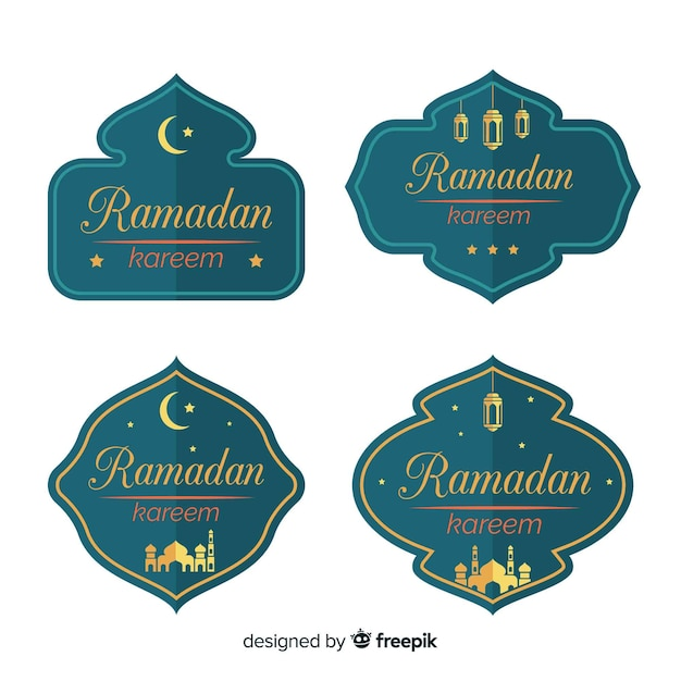 Flat ramadan badge collection Free Vector