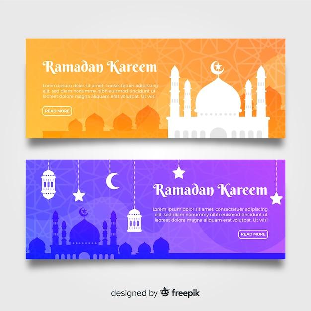 Flat ramadan banners Free Vector