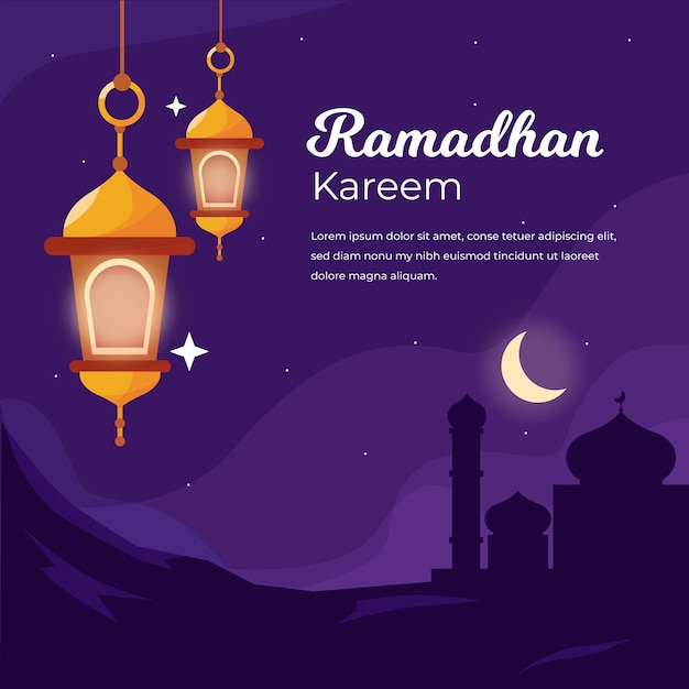 Плоская иллюстрация рамадана Бесплатные векторы