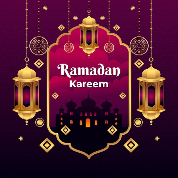 Flat ramadan kareem illustration Free Vector