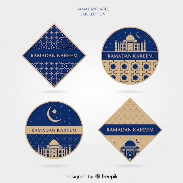 Flat ramadan label collection Free Vector