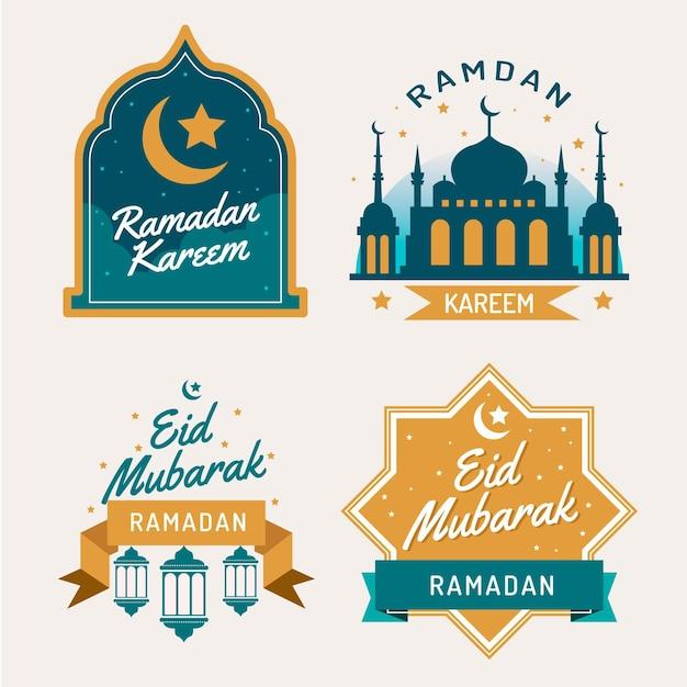 Плоская коллекция этикеток рамадана Бесплатные векторы
