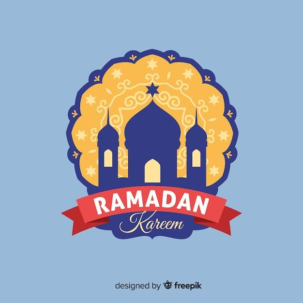 Flat ramadan label Free Vector