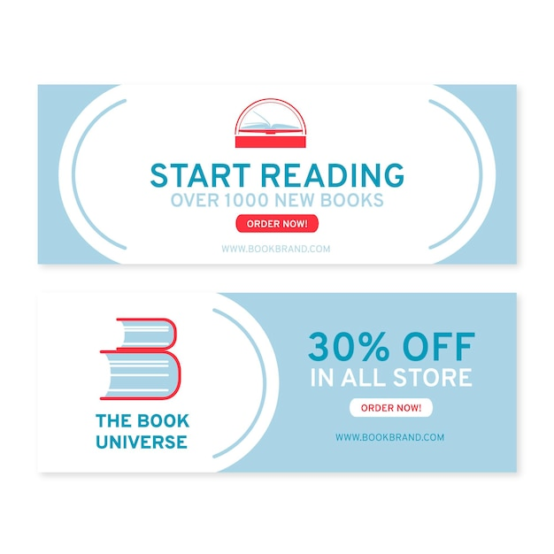 Flat reading banners design template Free Vector