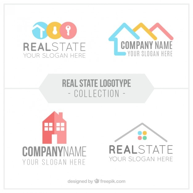 Flat real estate logo collection in abstract design Free Vector