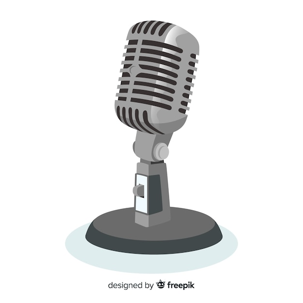 Flat realistic microphone background Free Vector