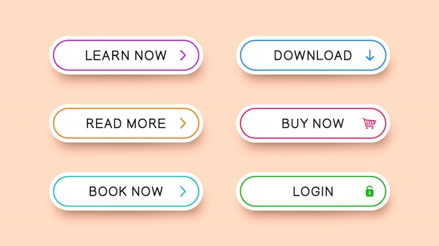 Flat rectangular white buttons with rounded corners with falling shadow. Premium Vector