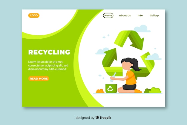 Flat recycling landing page template Free Vector