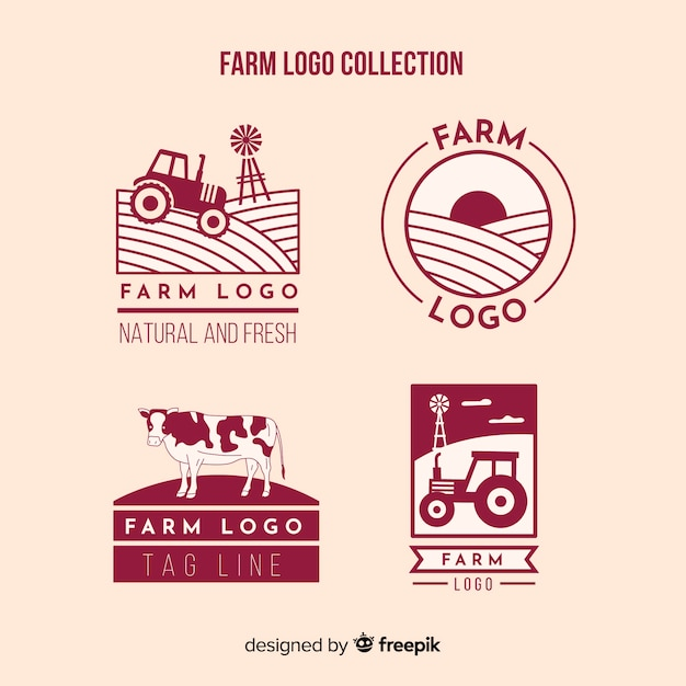 Flat red farm logo collection Free Vector