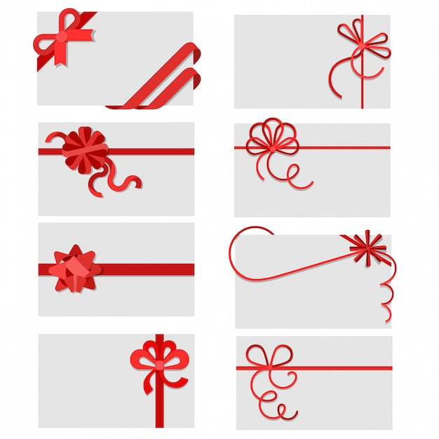 Flat red gift bows of ribbon on greeting or invitation cards envelopes with copy space vector illustration set. Free Vector