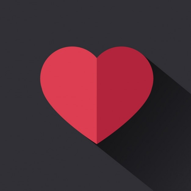 Flat red heart Free Vector