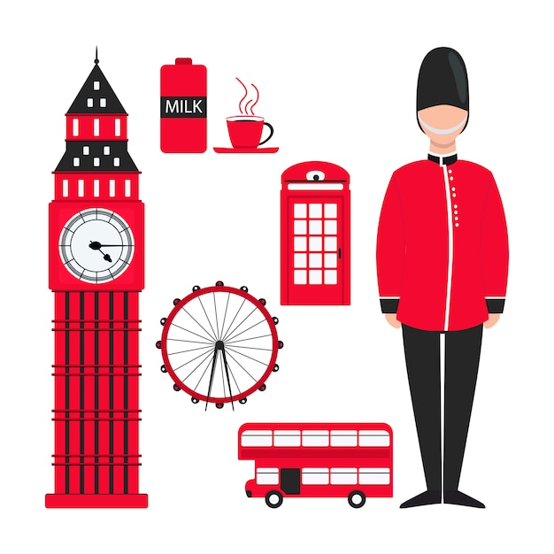 Flat red london for decoration design Premium Vector